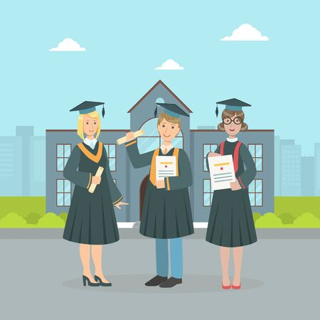 Happy Graduate Students Wearing Gown and Cap Holding Diploma, Boys and Girls Celebrating Graduation of University Vector Illustration in Flat Style.