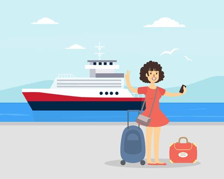 Young Woman with Luggage Standing in Front of Cruise Liner, Sea Travel and Vacation Vector Illustration in Flat Style.
