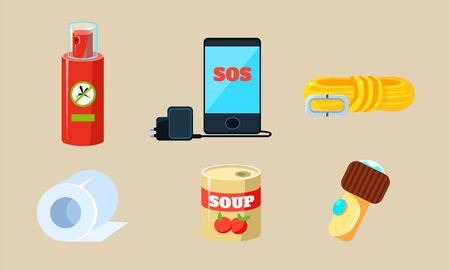 Travel Icons Set, Necessary Supplies for Trip and Traveling, Repellent, Rope, Toilet Paper, Canned Food, Phone and Charger Vector Illustration on Beige Background. Çizim