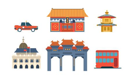 Travel to China, Chinese Traditional Architectural and Cultural Symbols Set Vector Illustration