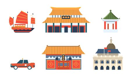 Chinese Traditional Architectural and Cultural Symbols Set, Travel to Asian Countries Vector Illustration Stock fotó - 128541817