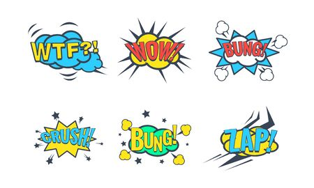 Comic Speech Bubble with Text Set, Comic Sound Effects, Wtf, Wow, Bung, Crush, Zap Vector Illustration on White Background.