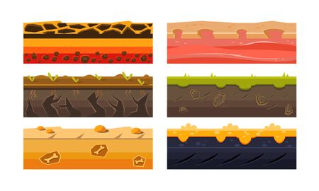 Fantasy Platforms Set, Ground Textures for Mobile or Computer Games User Iinterface Vector Illustration
