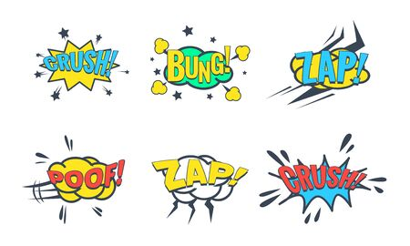 Comic Speech Bubble with Text Set, Comic Sound Effects, Bung, Crush, Zap, Poof Vector Illustration on White Background.
