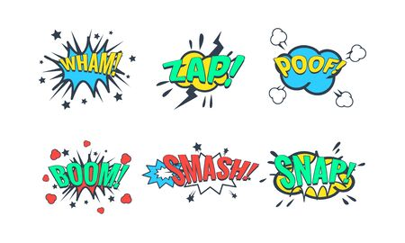 Comic Speech Bubble with Text Set, Comic Sound Effects, Wham, Zap, Poof, Boom, Smash, Snap Vector Illustration on White Background.