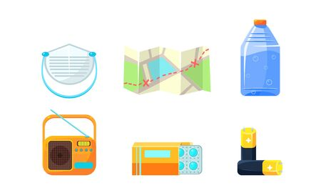 Travel Icons Set, Necessary Supplies for Trip and Traveling, Map, Bottle of Water, Radio, Medical Supplies, Accumulator Vector Illustration on White Background. Çizim