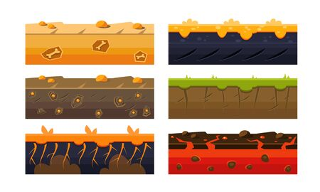 Fantasy Platforms Set, Soil Layers for Mobile or Computer Games User Iinterface Vector Illustration