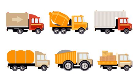 Cargo, Construction and Specialized Machinery for Transportation Set, Delivery Trucks Vector Illustration on White Background. Stock Illustratie