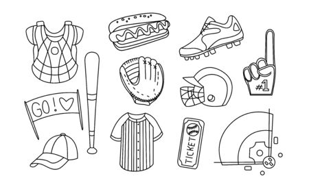 Collection of Baseball Equipment, Hand Drawn Monochrome Baseball Attributes and Gear, Glove, Bat, Helmet, Cap, Ball, Field Vector Illustration on White Background.