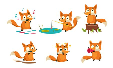 Cute Little Fox Doing Different Activities Set, Adorable Animal Character Fishing, Dancing, Running, Dying Vector Illustration on White Background.