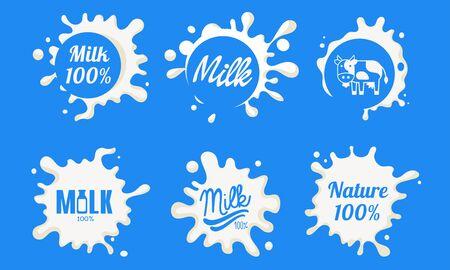 Natural Milk Templates Set, Organic Dairy Product Labels Vector Illustration Foto de archivo - 128541824