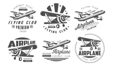 Flying Club Premium Templates Set, Retro Aviation Aircraft Club Monochrome Badges Vector Illustration