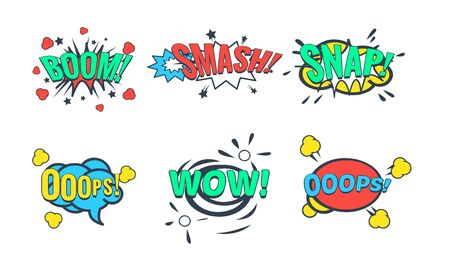Comic Speech Bubble with Text Set, Comic Sound Effects, Wow, Boom, Snap, Smash Vector Illustration on White Background.