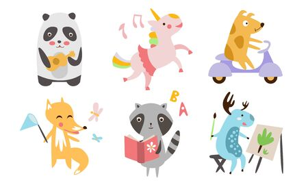 Cute Animals Different Activities Set, Adorable Humanized Animals Characters Playing Musicall Instrument, Reading Book, Riding Scooter, Painting, Dancing Illustration on White Background. Illustration