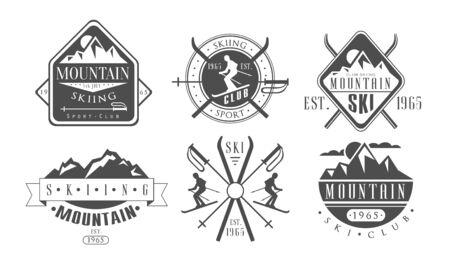 Mountain Skiing Retro-Vorlagen Set, Ski Sport Club Vintage Monochrome Etiketten Vector Illustration