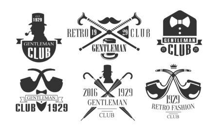 Gentleman Club Vintage Templates Set, Retro Fashion Club Black and White Emblems Vector Illustration