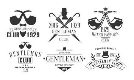 Gentleman Club Vintage Templates Set, Fashion Club Retro Emblems Vector Illustration