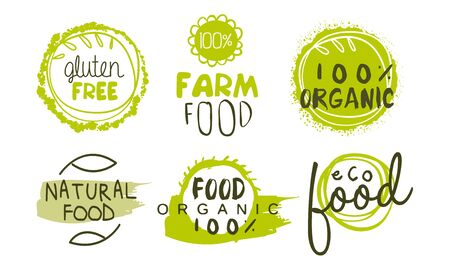 Natural Organic Food Green Labels Set, Eco Bio Products, Gluten Free Hand Drawn Badges, Emblems Vector Illustration