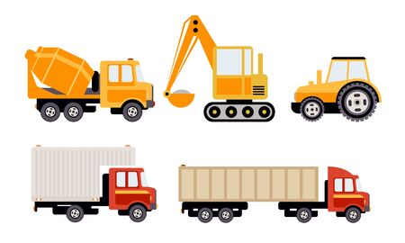 Cargo, Construction and Specialized Machinery Set, Concrete Mixer Truck, Excavator, Tractor, Tank, Refrigerator Vector Illustration on White Background. Illustration