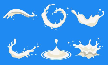 Natural Milk Splashing and Pouring Set, Organic Dairy Product Vector Illustration, Web Design.