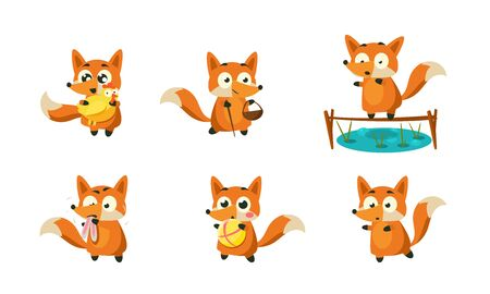 Cute Little Fox Doing Different Activities Set, Funny Forest Animal Character in Different Situations Vector Illustration on White Background. 向量圖像