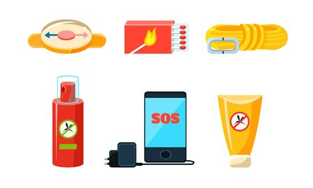 Travel Icons Set, Necessary Supplies for Trip and Traveling, Repellent, Rope, Compass, Box of Matches, Phone and Charger Vector Illustration on Beige Background.