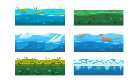 Fantasy Platforms Set, Water and Ice Textures for Mobile or Computer Games User Iinterface Vector Illustration on White Background.