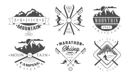Set di modelli retrò per campeggio e sci in montagna, illustrazione vettoriale di etichette monocromatiche vintage di avventura selvaggia