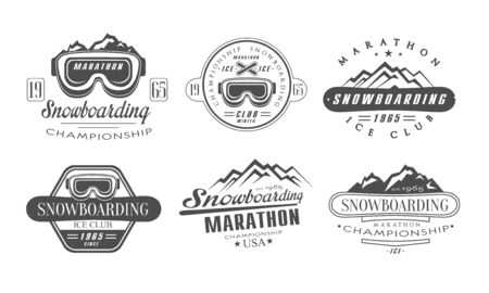 Snowboarding Championship, Marathon Retro Templates Set, Ice Club Vintage Monochrome Labels Vector Illustration