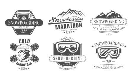 Snowboard-Meisterschaft, Marathon-Retro-Vorlagen-Set, kalt schneien Berg Vintage Monochrome Etiketten Vektor-Illustration