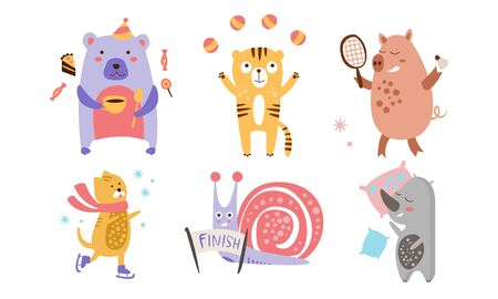 Cute Animals Different Activities Set, Adorable Humanized Animals Characters Engaged in Sports, Juggling, Sleeping, Eating Vector Illustration Ilustração