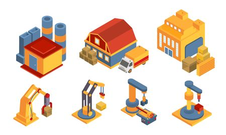 Modern Warehouse Building and Equipment Set, Logistics, Freight, Cargo Transportation, Iintelligent Manufacturing, Robotic Arms Vector Illustration on White Background.