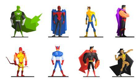 Superhelden-Set, verschiedene männliche Superhelden-Charaktere in bunten Kostümen-Vektor-Illustration Vektorgrafik