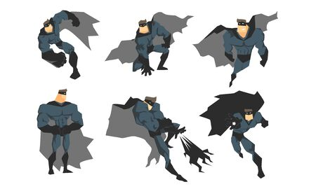Male Superhero in Different Action Poses Set, Courageous Superhero Character in Gray Costume, Waving Cloaks and Black Mask Vector Illustration