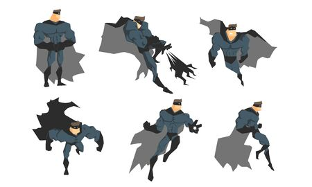 Superhero in Gray Costume and Black Mask in Different Action Poses Set, Courageous Superhero Character Vector Illustration Ilustração