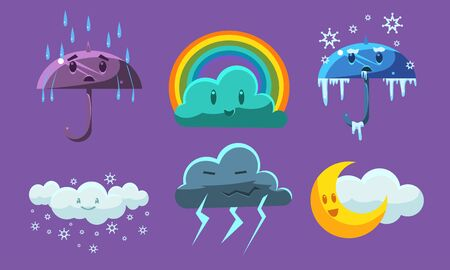 Weather Symbols Set, Forecast Meteorology Childish Signs Vector Illustration on Purple Background.