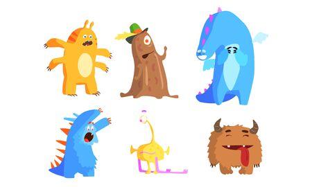 Niedliche lustige Monster-Set, lustige entzückende bunte Monster-Charaktere mit lustigen Gesichtern-Vektor-Illustration auf weißem Hintergrund.