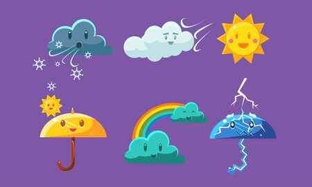 Cute Weather Icons Set, Colorful Forecast Meteorology Symbols Vector Illustration on Purple Background. 版權商用圖片 - 128446350