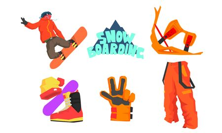 Snowboarder and Snowboarding Equipment Set, Winter Sport, Active Lifestyle Vector Illustration on White Background.
