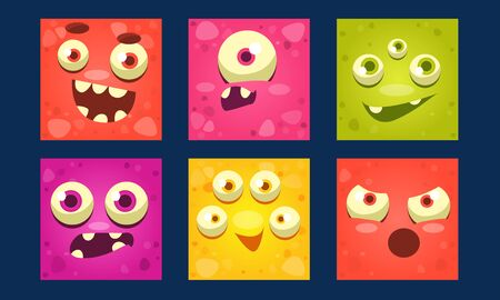 Funny Monsters Set, Colorful Mutant Emojis, Cute Emoticons with Different Emotions Vector Illustration, Web Design.