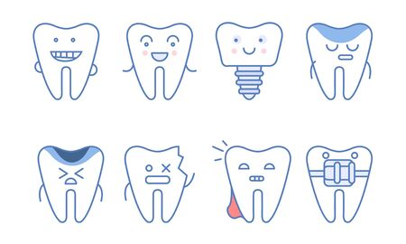 Funny Teeth Characters Set, Dentistry and Treatment, Teeth with Different Emotions and Funny Faces Vector Illustration on White Background.