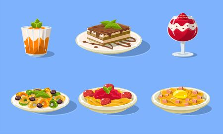 Tasty Dishes Set, Delicious Food, Main Dishes and Desserts Vector Illustration in Flat Style.