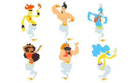Gin Fairy Tale Characters Set, Men and Women Coming Out from Magic Lamps Cartoon Vector Illustration on White Background.