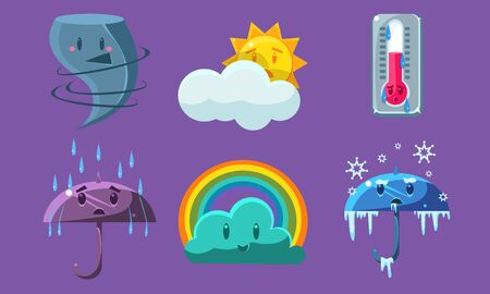 Weather Symbols Set, Forecast Meteorology Cute Signs Vector Illustration on Purple Background.