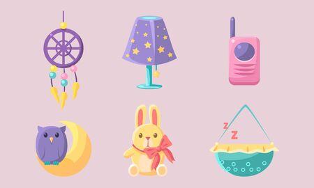 Ensemble d'accessoires pour bébé nouveau-né, éléments de douche de bébé, capteur de rêves, lapin, moniteur pour bébé, lampe, illustration vectorielle de berceau