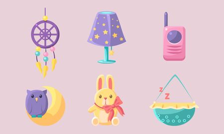 Newborn Baby Accessories Set, Baby Shower Elements, Dream Catcher, Bunny, Baby Monitor, Lamp, Cradle Vector Illustration Vectores