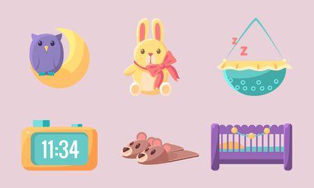 Newborn Baby Accessories Set, Cute Baby Shower Elements Vector Illustration on Pink Background. Illustration