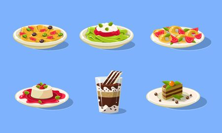 Tasty Dishes Set, Delicious Food, Spaghetti, Souffle, Cake, Milkshake Vector Illustration in Flat Style.