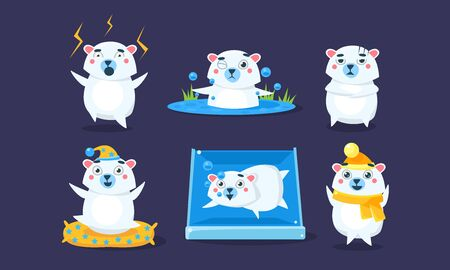 Cute White Guinea Pig Character Set, Funny Cavy in Different Situations Cartoon Vector Illustration.