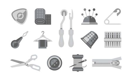 Thread Supplies Set, Sewing, Tailoring Equipment, Tools for Needlework Vector Illustration on White Background.